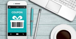 Coupon or reward redemption barcode on a mobile phone screen