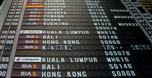 Flight information board showing updates that can be sent to travellers via messaging