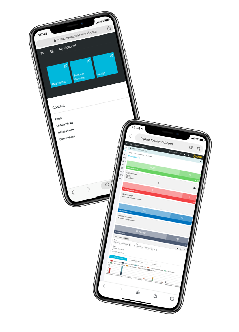 SMS campaign Management platform, Toku nGage, on a mobile phone