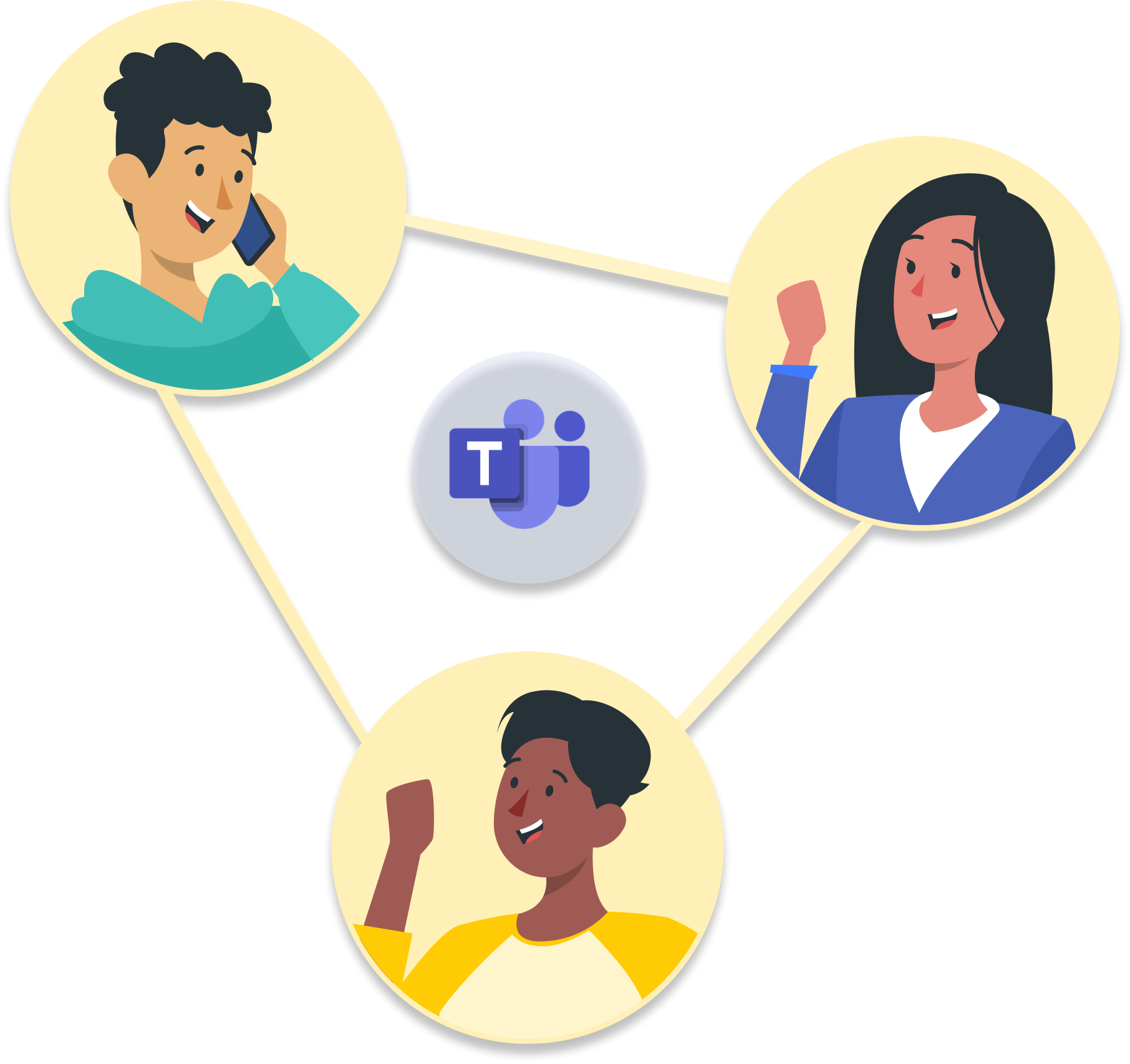 People connecting and collaborating through Microsoft Teams