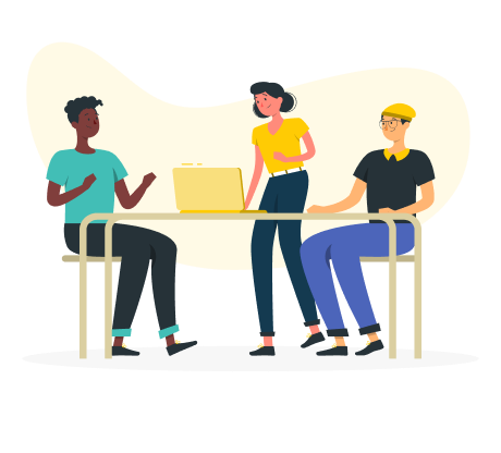 A team of three people collaborating to provide a communication solution